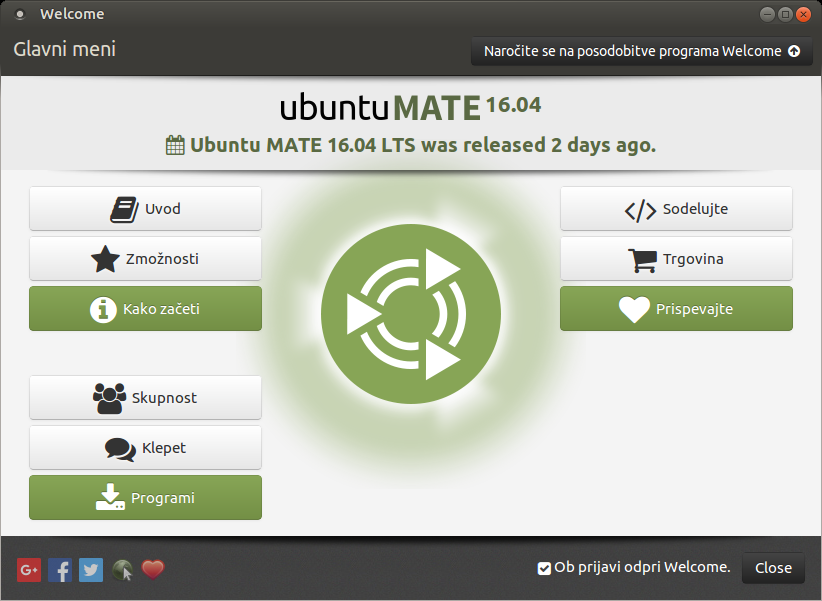 Ubuntu MATE Welcome 16.04